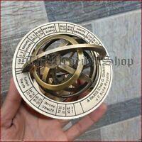Astrolabe Antique Armillary Brass Desktop Globe Sphere Wooden Base Vintage Gift