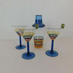 "Plastic Striped Martini Shaker 2 Stir Sticks 3 Glasses 7"" tall Blue Red Yellow"