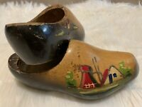 Vintage Dutch Wooden Shoes Hand Carved Hand Painted Very Beautiful Design!