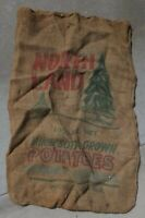 Vintage 100lb Potatoes Burlap Sack - Minnesota North Land - Evergreens