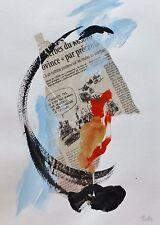 """JEAN MIOTTE 1926-2016""""Composition"""" HAND SIGNED ORIGINAL UNIQUE GOUACHE & COLLAGE"""