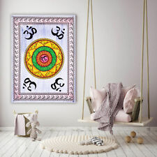 Om Chakra Wall Hanging Cotton Tapestry Poster Home Decor Indian Handmade Art