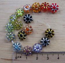 100 flower beads transparent acrylic plastic metallic details 8.5mm retro daisy