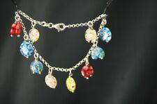 "Rolo Chain Lobster Claw Bracelet Br1688 925 Sterling Silver 7-3/4"" Dangle Beaded"