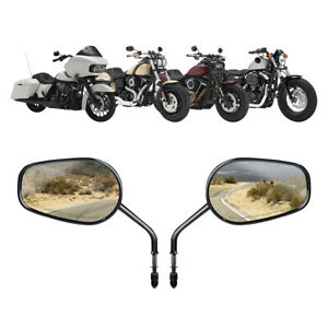8mm Rearview Side Mirror Fit For Harley Softail Deluxe Slim Fat Street Bob 88-17