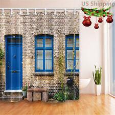 Rustic Brick Wall Blue Door Bathroom Fabric Shower Curtain & 12 Hooks 71*71 Inch