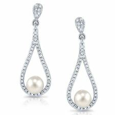 Drop 925 Sterling Silver Freshwater Pearl Post Earrings W Micro Pave CZ Accents