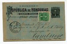 Rep. de Honduras stationery to Hamburg Germany 1894