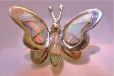 AMAZING Butterfly Ladies WHITE PINK FIRE Opal Ring Sterling Silver 925 3d 8 $225