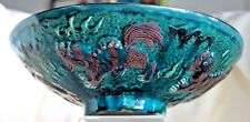 "Vintage Chinese Temple Lion Foo Dog Blue Green Drip Glaze 10 1/2"" Antique Bowl"
