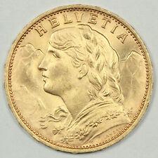 BRILLIANT UNCIRCULATED 1927 SWISS HELVETIA GOLD 20 FRANCS .1867 AGW SWITZERLAND