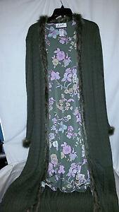 / NWOT GREEN Randolph Duke Women Long Sweater Faux Fur Trim Sz 1X lined