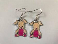 CUTE PIGLET PIG EARRINGS SILVER PLATED HOOK present in gift bag