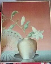 """Vintage Framed  20"""" x 16"""" JENSEN """" Delicate Floral Vine- Vase"""" Soft pastel color"""
