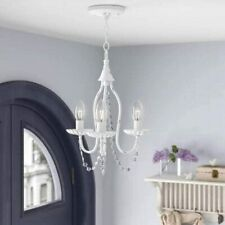 3-Light Vintage Mini Candle Chandelier Wrought Crystal Ceiling Pendant Fixture