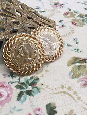 Vintage Gay Boyer Elizabeth Del Gratis Regina Coin Gold Clip Earrings