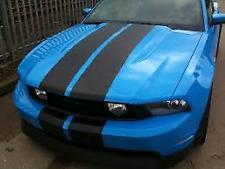 """MATT BLACK Twin Body Stripes Viper Style 4m(13')x15cm(6"""") fits OPEL"""