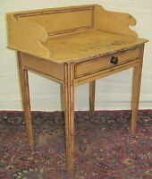 EARLY 19TH C HEPPLEWHITE RARE FOLK ART BAMBOO PAINTED ANTIQUE WASH STAND