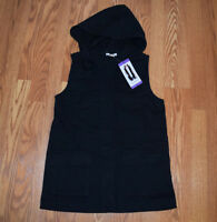 NWT Womens MATTY M Black Hooded Cargo Vest Size Small S