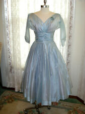 True 50's Vintage Original Ice Blue Organza Full Skirt Prom Party Dress-Sz Sm