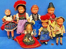 KONVOLUT ALTE PUPPEN BABY DOLL VINTAGE 15-25 CM PUPPENHAUS PUPPENSTUBE TRACHTEN