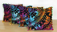"""New 4 Pcs Set Of 16"""" Cushion Cover Indian Tie Dye Elephant Print Pillow Covers"""