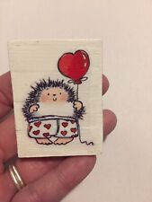 Hedgehog With Heart Boxers Valentines Printed Handmade Wood Decoration