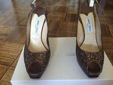 Jimmy Choo Bronze Coarse Fabric Open Toe Pumps Size 41-(9 1/2 US Size)