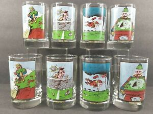 8 Arby's Collector Series Vintage 1982 Gary Patterson Drinking Glass Tumbler Set