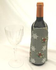Green Gingham with Holly Christmas Wine Bottle Aprion