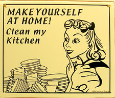 Make Yourself at Home Clean My Kitchen Humor Rustic Vintage Metal Sign
