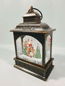 Christmas Glitter Snow Globe LED Lighted Lantern Santa Reindeer Holiday Decor