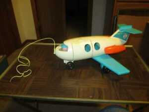 Vintage 1970 Fisher Price Little People AIRPLANE JET w/ Pilot ~ Turquoise White