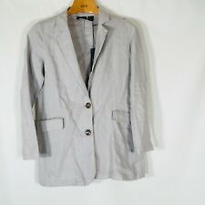 Tahari Blazer 100% Linen Jacket Womens Size XS NEW Gray