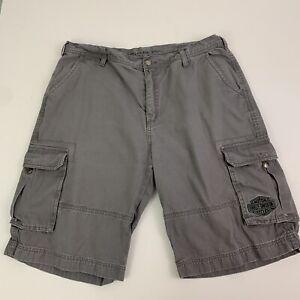 Harley Davidson Men's 38 Cargo Utility Shorts Gray Embroidered Pocket