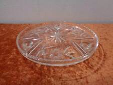 Decorativo Diseño Cristal Plato para Tartas Con Pies - Schliffdekor - Vintage