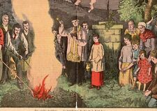 RELIGION BENEDICTION FEU DE LA SAINT JEAN IMAGE 1926 OLD PRINT