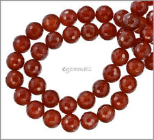 """15.75"""" Red Carnelian Faceted Round Beads 10mm #54032"""