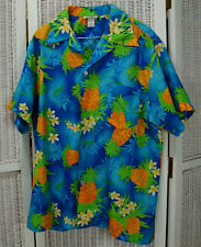"Vintage Men's Hawaiian Shirt XL 50"" Chest Tropical Summer Party Luau Pineapples"