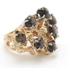 3.20 Ct Natural Star Sapphire and DIAMONDS in 14K Solid Yellow Gold ANTIQUE Ring