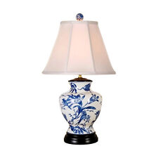 """Chinese Blue and White Porcelain Vase Bird Motif Table Lamp 24"""""""