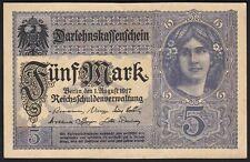 1917 5 Mark WWI German Old Vintage Paper Money Banknote Currency World War UNC