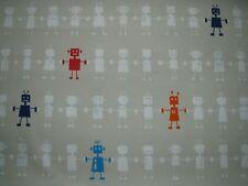 """HARLEQUIN  CURTAIN FABRIC DESIGN """"Reggie Robot"""" 3.4 METRES NEUTRAL MULTI COTTON"""
