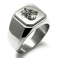 Stainless Steel Tribal Wolf Design Mens Square Biker Style Signet Ring