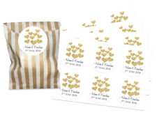 Personalised Gold heart thank you stickers, WITH gold striped paper bags x 24