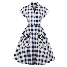 Womens Vintage 1940s 50s Rockabilly Style Evening Party Swing Classy Plaid Dress