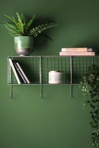 Industrial Style Metal Wire Wall Shelf Unit Coat Rack Hooks Office Storage Retro