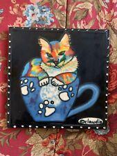 Claudia Sanchez Cgs Hand Painted Kitten In Cup Cat Ceramic Tile 7 3/4� X 7 3/4�