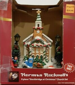 "Norman Rockwell's 9 Piece ""Stockbridge at Christmas"" Church Set"