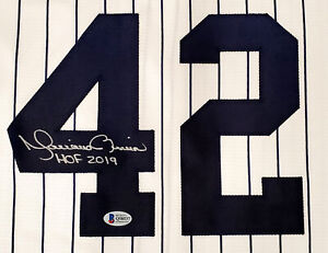 "YANKEES MARIANO RIVERA AUTOGRAPHED NIKE WHITE JERSEY L ""HOF 2019"" BECKETT 182151"